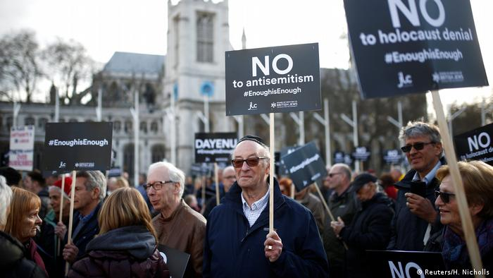Protests organized by the British Board of Jewish Deputies opposing antisemitism, in in London in March (Reuters/H. Nicholls)
