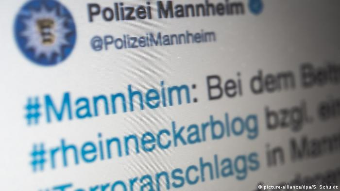 A photo of the Mannheim police Twitter feed