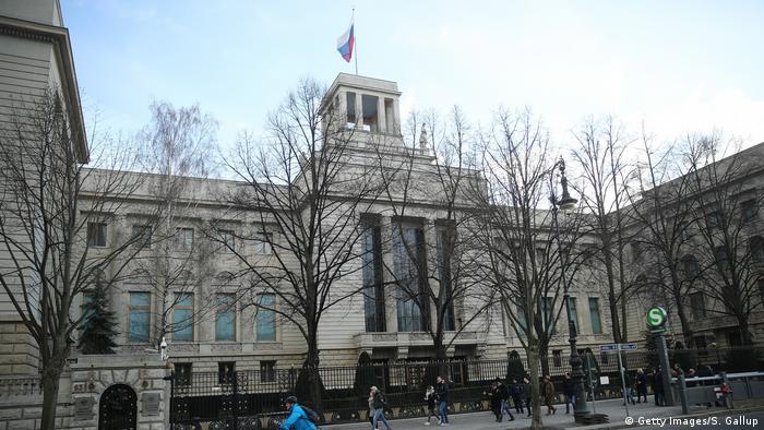Fachada da embaixada da Rússia em Berlim