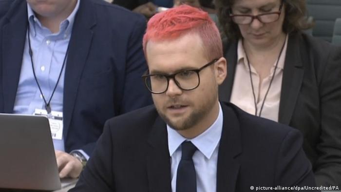 Christopher Wylie, ex-funcionário da Cambridge Analytica, durante depoimento no Parlamento britãnico