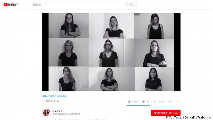 Screenshot of #DeixaElaTrabalhar (#LetHerWork) anti-sexual harassment campaign