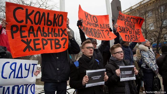 Protestkundgebung in Kemerowo nach Brand in Einkaufszentrum