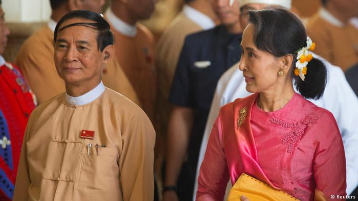 Myanmar President Win Myint (L) and de-facto leader Aung San Suu Kyi (Reuters)