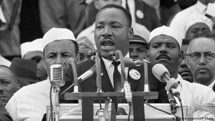 Martin Luther King durante o famoso discurso Eu tenho um sonho, em 1963