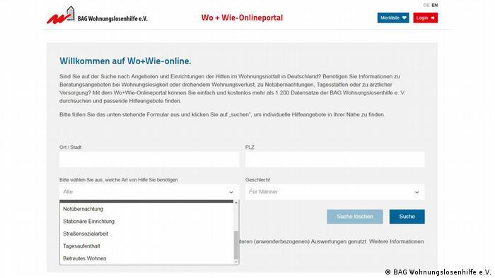 Screenshot of housing assistance portal woundwie.de
