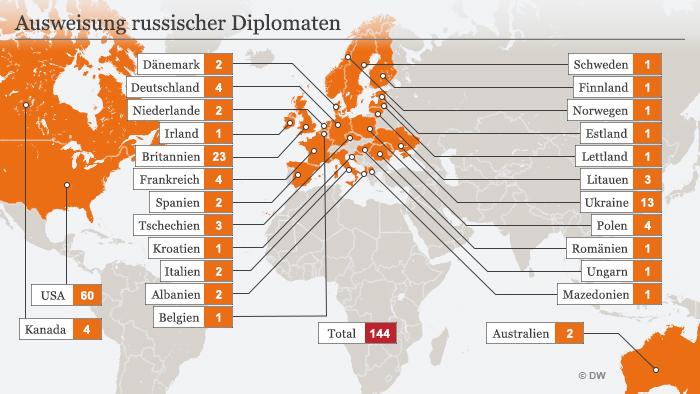 Infografik Karte Ausweisung russischer Diplomaten DEU