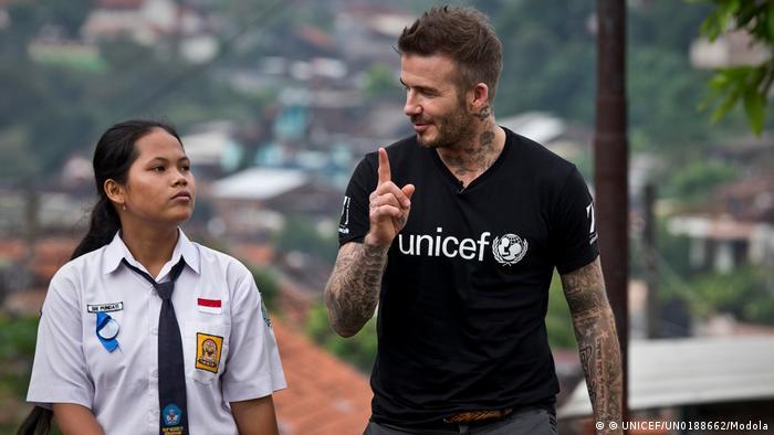 UNICEF Goodwill Ambassador David Beckham in Indonesien (© UNICEF/UN0188662/Modola)