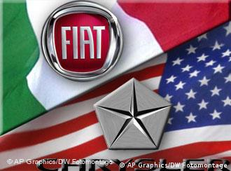 The Fiat and Chrysler logos superimposed on the Italian and US flags