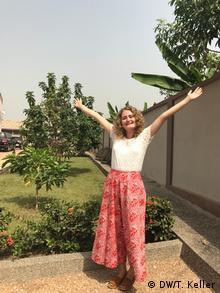 Die kulturweit-Freiwillige Tamara Keller bei ihrem Einsatz in Ghana. | Tamara Keller
