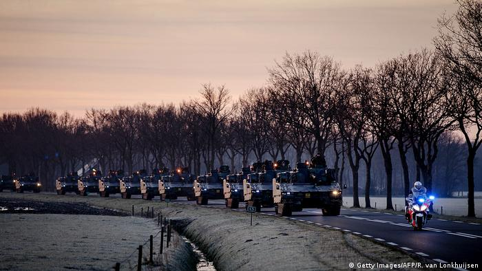 US Army tanks move through the Netherlands on their way to Germany for the NATO quick reaction force