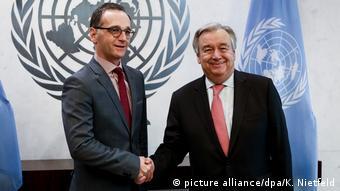 Глава МИД ФРГ Хайко Мас и генеральный секретарь ООН Антониу Гутерриш, 28 апреля 2018 года