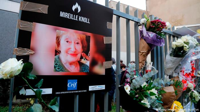 Flowers left for Mireille Knoll