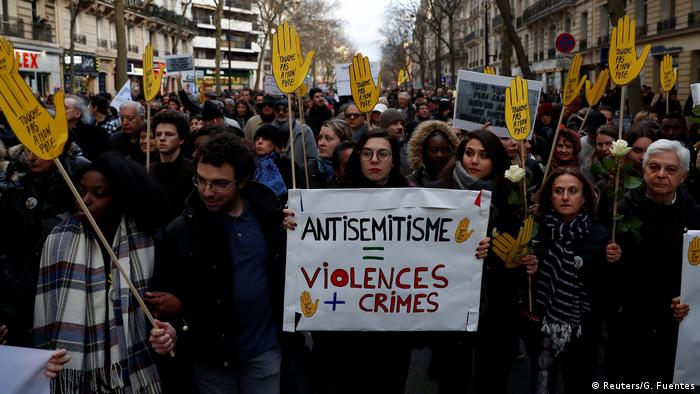 Protests in Paris against anti-Semitism
