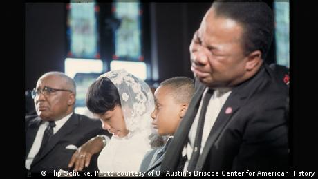 King's brother, Alfred D. King, breaks down during the funeral at Ebenezer Baptist Church