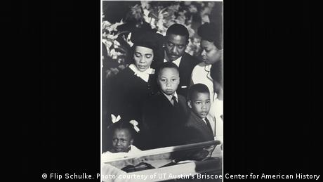 Coretta Scott King and her children view Martin Luther King's casket
