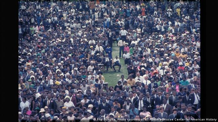 The funeral procession from Ebenezer Baptist Church to Morehouse College was observed by over 100,000 people