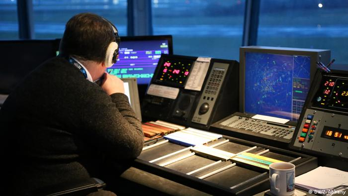 Air traffic controller at work at Prestwick Airport in Scotland