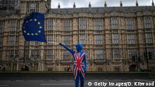 LONDON, UNITED KINGDOM - MARCH 29: Anti Brexit demonstrators continue their protest outside the Houses of Parliament on March 29, 2018 in London, United Kingdom. British Prime Minister Theresa May is touring Britain to mark the one-year countdown of Britain's EU departure. (Photo by Dan Kitwood/Getty Images)