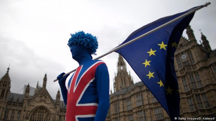 Участник демонстрации против Брекзита