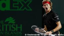 30.03.2018 Mar 30, 2018; Key Biscayne, FL, USA; Alexander Zverev of Germany reacts after winning a point against Pablo Carreno Busta of Spain (not pictured) in a men's singles semi-final of the Miami Open at Tennis Center at Crandon Park. Mandatory Credit: Geoff Burke-USA TODAY Sports