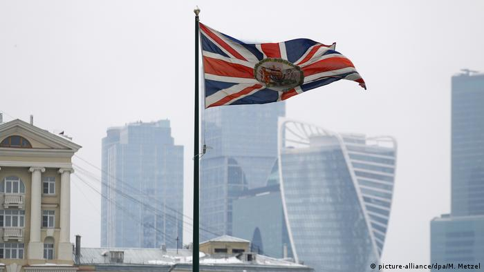 The British Embassy flag flying over its Moscow offices