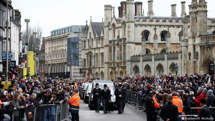 Hundreds, if not thousands, lined the streets of Cambridge to watch the funeral procession pass by. Some 500 invited guests attended the private funeral.