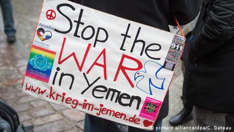 A sign reading stop the war in Yemen (picture alliance/dpa/C. Gateau)