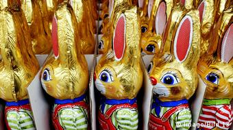 Chocolate bunnies wrapped in foil