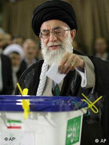 Iran's supreme leader Ayatollah Ali Khamenei casts his ballot for the presidential elections