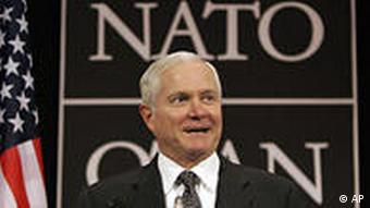 U.S. Secretary for Defense Robert Gates speaks during a media conference after a meeting of NATO defense ministers at NATO headquarters in Brussels, Friday June 12, 2009.