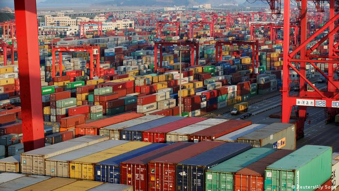 Containers are seen at the Yangshan Deep Water Port, part of the Shanghai Free Trade Zone, in Shanghai