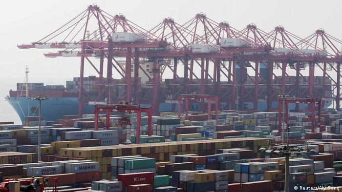View of a container port in Shanghai, China