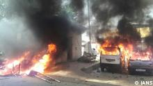 Meerut: Vehicles set ablaze by protesters during a nation wide strike called to protest against the dilution of the SC/ST Prevention of Atrocities Act in Meerut, on April 2, 2018. (Photo: IANS)
