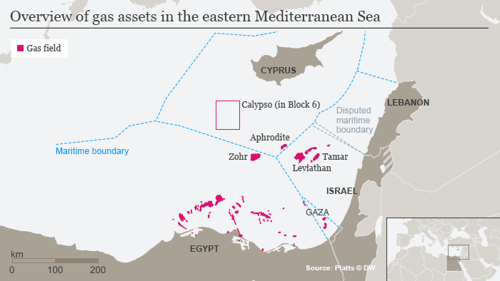 Gas fields in eastern Mediterranean