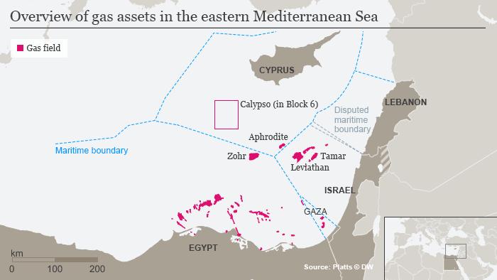 A map depicting gas fields in the eastern Mediterranean Sea