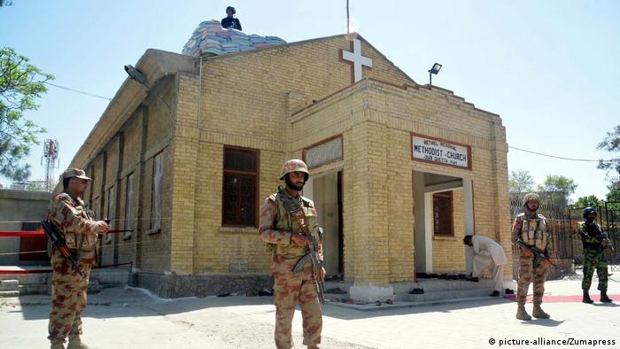 Troops guard a Christian church in Quetta