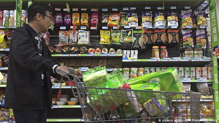 China US-Produkte im Supermarkt (picture alliance/AP Photo/Andy Wong)
