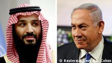 صورة مركبة لرئيس الوزراء الإسرائيلي بنيامين نتنياهو (يمين) وولي العهد السعودي محمد بن سلمان