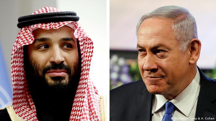 Saudi Arabia's Crown Prince Mohammed bin Salman Al Saud and Israeli Prime Minister Benjamin Netanyahu