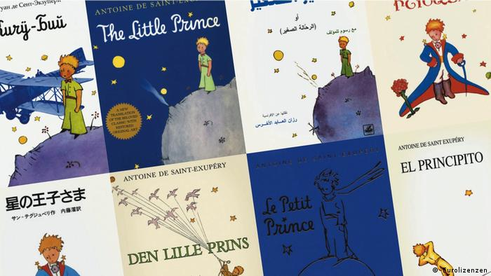 The book covers of Antoine de Saint-Exupéry' The Little Prince in various languages ( Eurolizenzen)
