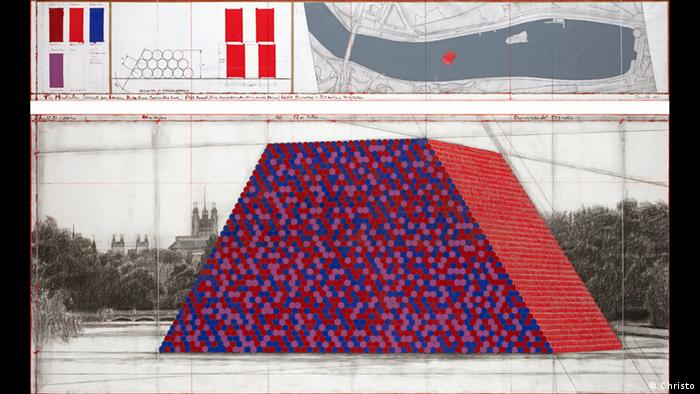 A draft of Christo's The Mastaba (Project for London, Hyde Park, Serpentine Lake) (2017) (Christo)
