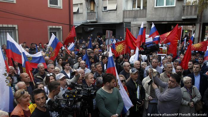Mazedonien pro-russische Demos in Skopje