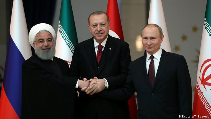 Türkei Ruhani, Erdogan und Putin beim Treffen in Ankara (Reuters/T. Bozoglu)
