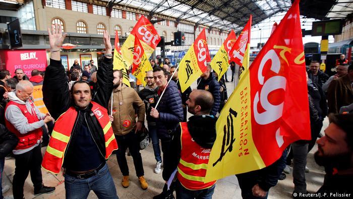 Striking workers in Marseille