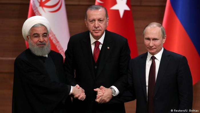 İran, Türkiye ve Rusya liderleri Nisan 2018'de Ankara'da.