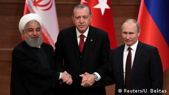Türkei Ruhani, Erdogan und Putin beim Treffen in Ankara (Reuters/U. Bektas)