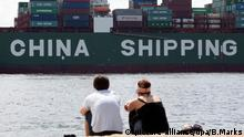 Handel Europa und China Hamburg Containerschiff