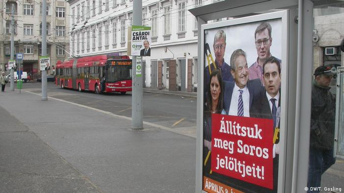 A Fidesz campaign poster shows George Soros surrounded by opposition candidates