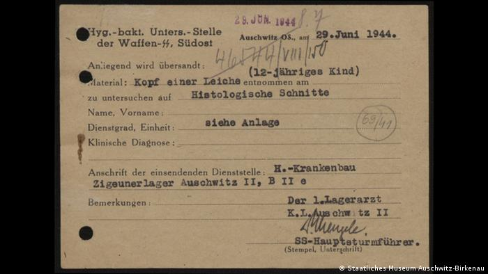 A document signed by Mengele from Auschwitz (Staatliches Museum Auschwitz-Birkenau)