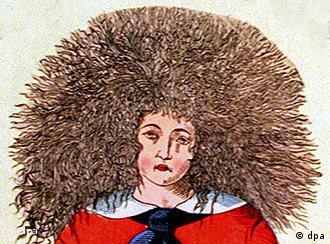 Ein Bild vom Gesicht des Struwwelpeters mit langen struppigen Haaren